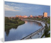 Foto in lijst - Zonsondergang boven Tjoemen in Rusland fotolijst wit 60x40 cm - Poster in lijst (Wanddecoratie woonkamer / slaapkamer)