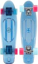 "Nijdam Kunststof Skateboard 22.5"" - Transparant - Transparant/Lichtblauw/Fuchsia"