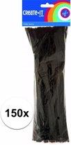 Chenilledraad zwart 30 cm 150 st