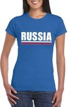 Blauw Rusland supporter t-shirt voor dames XS