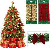 Kerstboom decoratie strikken rood - Kerstversiering - 12 stuks