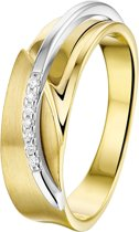 The Jewelry Collection Ring Diamant 0.035 Ct. Poli/mat - Bicolor Goud (14 Krt.)