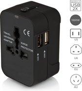 ZIS Universele Wereldstekker met 2 USB Poorten - Alle landen - Reis Adapter / Reisstekker