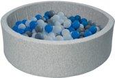 Ballenbad - stevige ballenbak - 90 x 30 cm - 150 ballen Ø 7 cm - wit blauw grijs