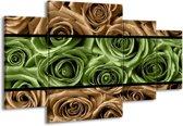 Canvas schilderij Roos | Groen, Bruin, Zwart | 160x90cm 4Luik