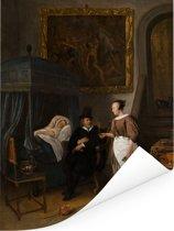 Het doktersbezoek - Schilderij van Jan Steen Poster 120x160 cm - Foto print op Poster (wanddecoratie woonkamer / slaapkamer) XXL / Groot formaat!