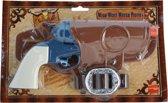 Cowboy revolver blauw + holster