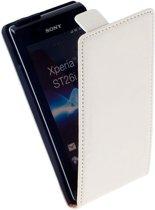 LELYCASE Premium Flip Case Lederen Cover Bescherm Hoesje Sony Xperia J Wit