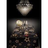 Tafelkleed - zwart met gouden sterren - 130 x 180 cm