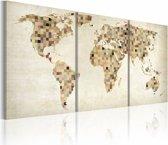 Schilderij - De Wereld kaart - pleinen
