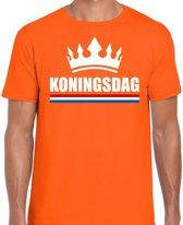 Oranje Koningsdag met kroon shirt heren - Oranje Koningsdag kleding S