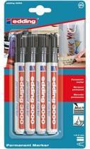 Edding 3000 permanent marker zwart - blister á 4 stuks