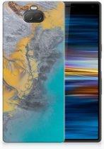 Sony Xperia 10 TPU Hoesje Design Marble Blue Gold