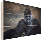 Portret afbeelding van een zwarte Gorilla Vurenhout met planken 60x40 cm - Foto print op Hout (Wanddecoratie)