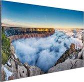 Wolk Grand Canyon bij zonsopgang Aluminium 180x120 - XXL cm - Foto print op Aluminium (metaal wanddecoratie)
