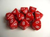Chessex dobbelstenen set, 10 10-zijdig, rood