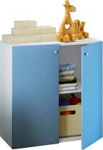 Kledingkast opbergkast kinderkamer Vandol mini wit met blauwe deuren