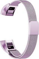 Fitbit Alta (HR) Luxe Milanees bandje   Licht Paars / Purple  Premium kwaliteit   Size: S   RVS  TrendParts