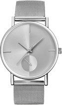 Hidzo Horloge Bowake ø 37 mm - Zilvre/Zilver - Inclusief horlogedoosje
