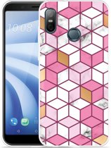 HTC U12 Life Hoesje Pink-gold-white Marble