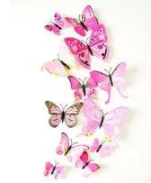 12 stuks licht roze 3D vlinders / Vlinders Muursticker / Muurdecoratie Voor Kinderkamer / Babykamer / Slaapkamer - Vlinder Sticker licht roze