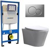 Geberit UP 320 Toiletset - Inbouw WC Hangtoilet Wandcloset - Saturna Flatline Sigma-01 Mat Chroom
