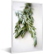 Foto in lijst - Close up twijgen van rozemarijn fotolijst wit 40x60 cm - Poster in lijst (Wanddecoratie woonkamer / slaapkamer)