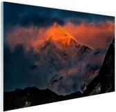Zonsondergang Himalaya Glas 60x40 cm - Foto print op Glas (Plexiglas wanddecoratie)