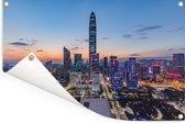 Skyline van Shenzhen Tuinposter 60x40 cm - klein - Tuindoek / Buitencanvas / Schilderijen voor buiten (tuin decoratie)