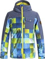 Quiksilver Mission Block Snowboardjas  Wintersportjas - Maat L  - Unisex - blauw/grijs/geel