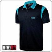 One80 Dartshirt Zwart met lichtblauwe accenten  Per stuk 5XL