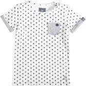 Indian blue off white t-shirt met elastan - Maat 140