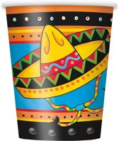 8 kartonnen Mexicaanse bekers - Feestdecoratievoorwerp