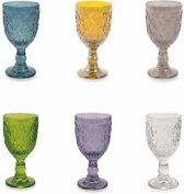 Villa d'Este Home Marrakech Wijnglazen - Gekleurd - Glas - 6 stuks - 300 ml