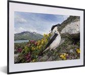 Foto in lijst - Foto van een tapuit met bergen op de achtergrond fotolijst zwart met witte passe-partout klein 40x30 cm - Poster in lijst (Wanddecoratie woonkamer / slaapkamer)