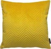 Yellow Velvet Chevron Kussenhoes | Fluweel / Velours | Geel | 45 x 45 cm