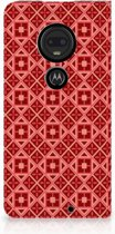 Motorola Moto G7 | G7 Plus Uniek Standcase Hoesje Batik Red