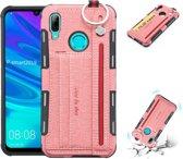 Let op type!! Voor Huawei P Smart (2019) doek textuur + TPU schokbestendige beschermhoes met metalen ring & houder & kaartsleuven & hangende riem (roze)