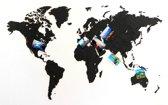 MiMi Innovations Luxe Houten Wereldkaart - Muurdecoratie - True Puzzel - 100x60 cm/39.4x23.6 inch - Zwart