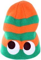 Gebreide muts streep oranje groen met ogen