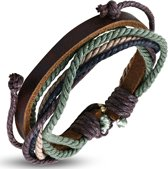 Amanto Armband Ajani Brown - Heren - Leer - Touw - ∅20 - 23 cm