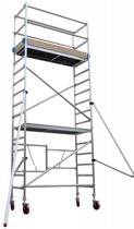 Vouwsteiger 75x190 6m werkhoogte + rubber wiel + stalen spindel