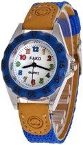 Fako Bijoux® - Kinderhorloge - Canvas - Regenboog - Royal Blauw