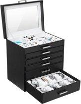 XXL Luxe Horloge / Sieradenbox Met Spiegel - Bijouteriedoos Opbergbox - Juwelen Opbergdoos - PU Leder Zwart