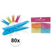 80x Kunststof wasknijpers 8 cm - Knijpers/wasspelden 80 stuks