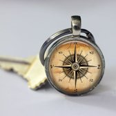 Sleutelhanger kompas geschenk voor mannen of vrouwen