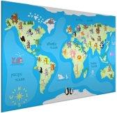 Wereldkaarten.nl - Kinderwereldkaart op aluminium dieren muur kinderkamer 120x80 cm