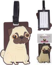 Schattige Pug/Mopshond Bagage Label