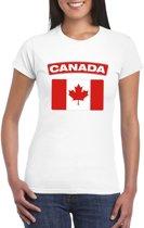 T-shirt met Canadese vlag wit dames XL