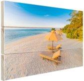 Caribisch strand met strandstoel Hout 120x80 cm - Foto print op Hout (Wanddecoratie)